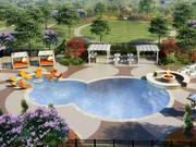 A rendering of the pool area at Mason Grand, complete with a fire table.