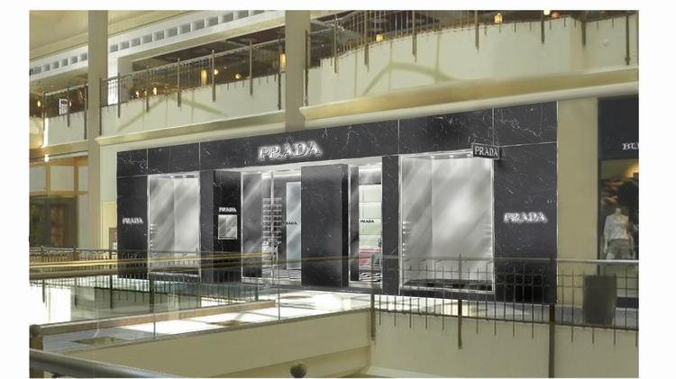 A rendering of the Prada store at Tysons Galleria, opening July 31.
