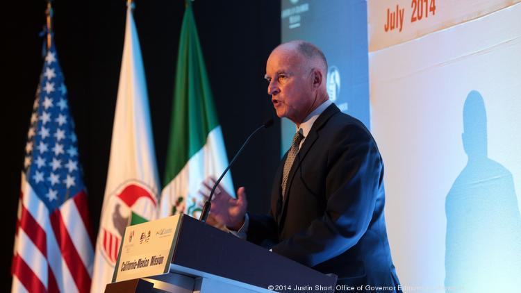 On day two of his trade trip to Mexico, California Gov. Jerry Brown speaks the at American Chamber of Commerce of Mexico. On his third and final day, Brown signed a broad econo​mic agreement with Mexican officials to work on advanced manufacturing, alternative energy and other industries.