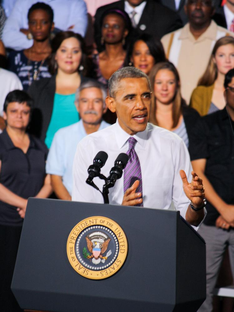 President Barack Obama addresses the crowd at the Uptown Theater in Kansas City.