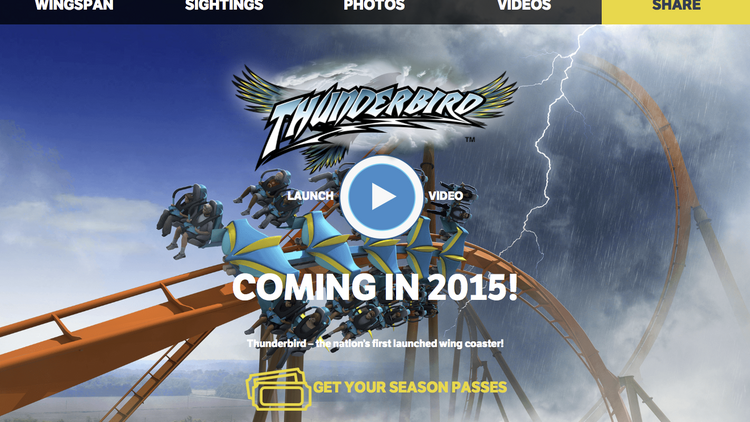 This screen shot from holidayworld.com/thunderbird shows Holiday World & Splashin' Safari's new Thunderbird microsite.