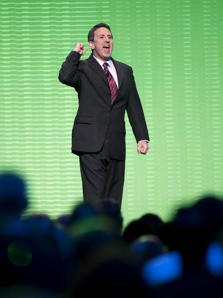 Brian Cornell, then chief executive officer of Wal-Mart's Sam's Club, leads a cheer during the during the annual Wal-Mart shareholders meeting in Fayetteville, Arkansas, in June 2010. Cornell has been selected to be Target Corp.'s next CEO.