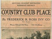 A 1906 Frederick Ross Co. advertisement for lots near  the Denver Country Club.