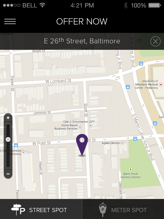 Haystack allows people to sell their on-street city parking spaces to others for a fee.