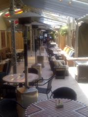 One of the covered patios at Walter's Restaurant.