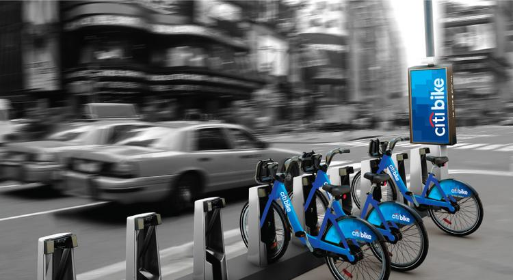 A computer generated image shows a view of a Citi Bike station in New York, U.S., in this undated handout photo from Bloomberg. Honolulu is moving forward with rolling out a bike-sharing program similar to New York's by 2015.