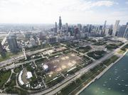 An overhead view of the Lollapalooza site in Chicago's Grant Park.