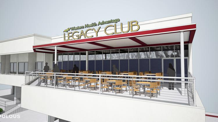 This rendering shows the outside of the new Western Health Advantage Legacy Club planned at Raley Field. The 5,000-square-foot private club space overlooking left field will be ready for Sacramento River Cats games in 2015.