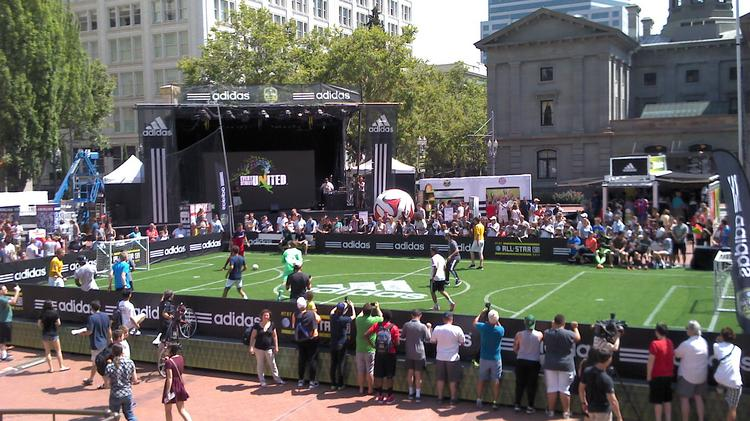 """Pioneer Courthouse Square hosted several short """"matches"""" featuring locals and MLS players last weekend."""