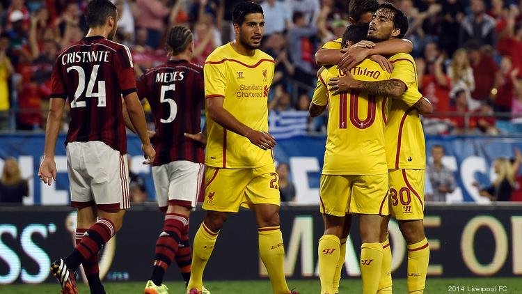 Suso of Liverpool celebrates after scoring during the International Champions Cup match against AC Milan on Saturday in Charlotte.