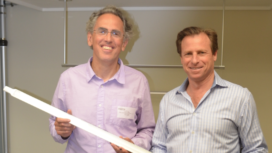 Peter A. Nitze (left) is president of Nitze-Stagen Capital Partners, which is investing in Next Lighting Corp. Also pictured is Randall Sosnick, president and CEO of Next Lighting, which is opening an office and a manufacturing facility in the Seattle area.