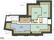 The rooftop layout of the four condos proposed for the Linden Crossing development in Minneapolis.