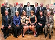Top row, from left, some past presidents of the Jewish Community Center of Greater Washington, Steven Lustig, Edward Kaplan, Andrew Stern, Michael Gildenhorn, Barry Forman, current President Scott Cohen and John VerStandig; seated, from left, Richard Reff, Rosalyn Levy Jonas, Beth Sloan, Marcella Cohen, Lesley Israel and Harry Linowes.