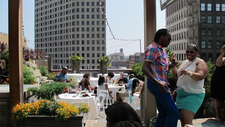 Social X brought together dozens of young professionals for music, mimosas and a brunch buffet on the roof of Hotel Metro downtown.