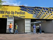 Two of the containers have usable space inside where the school will host demonstrations. The third, on top, is covered in solar panels and filled with batteries. Though there is electricity, the Pavilion is not on the grid.