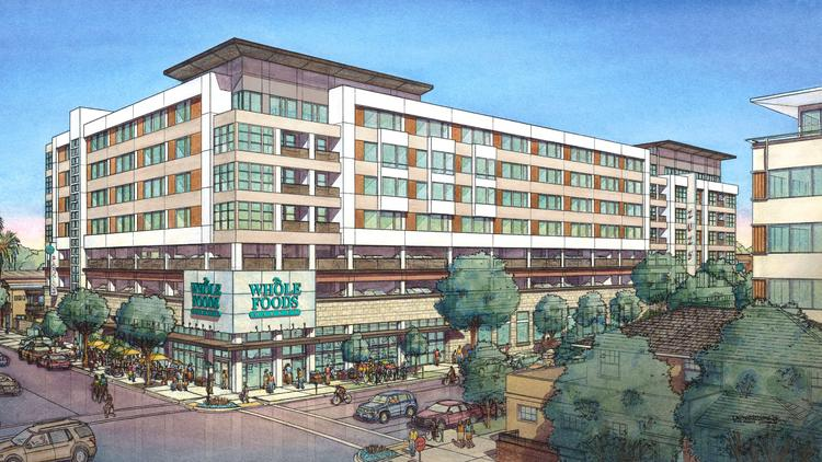 This is a rendering of the Whole Foods Markets and mixed-use building planned on L Street in midtown Sacramento.