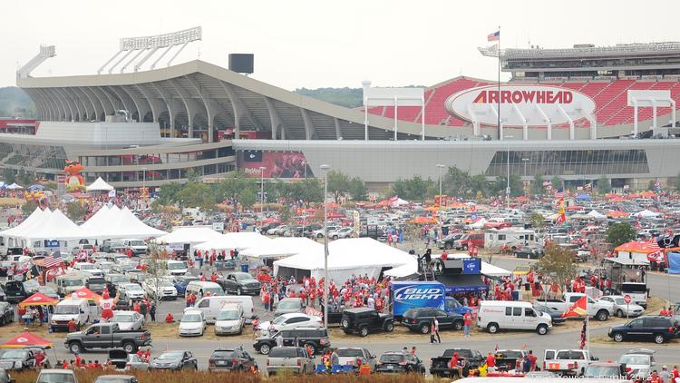 Tailgaters gather at Arrowhead Stadium, which will see some changes to the team's parking policies this season.