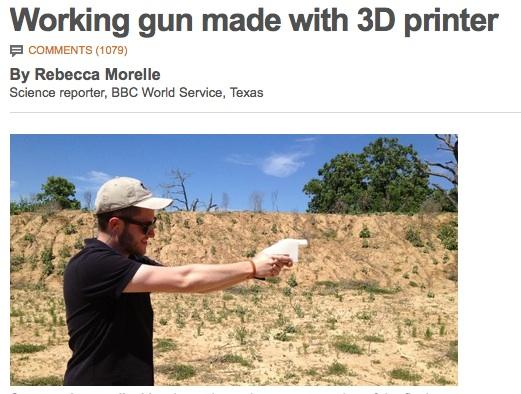 A screen shot capture of the BBC's news article on the working plastic gun. Is this a good idea?