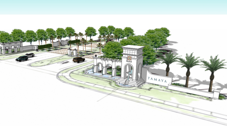"""Crews will soon begin erecting a grand, 30-foot-high entrance to Tamaya fronting Beach Boulevard that will include a cascading """"faux aqueduct"""" water feature."""