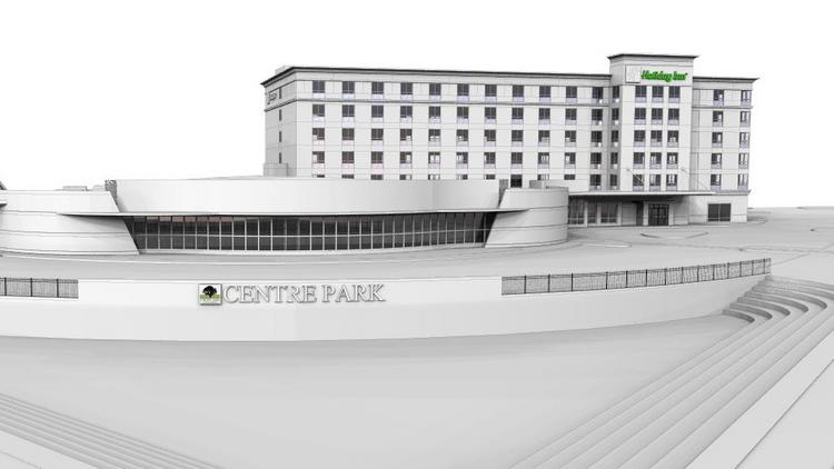 A rendering of the Centre Park project in West Chester, which includes a 130-room Holiday Inn hotel and an event and banquet center.