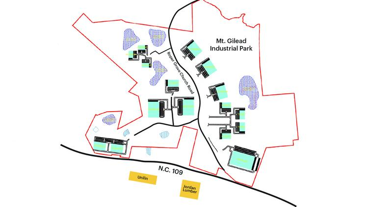 A map of the Mt. Gilead Industrial Park off N.C. 109.