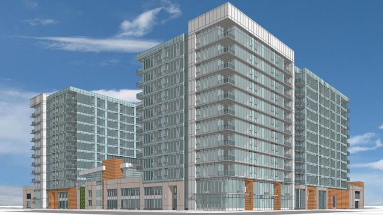 An elevation drawing of the new two-tower apartment complex from Barry Swenson Builder and Essex Property Trust.