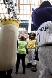 Weiner King mascot Winston, the Kentucky Derby Museum mascot and Louisville Bats baseball club mascot Buddy Bat mingled with the crowds at Fourth Street Live.
