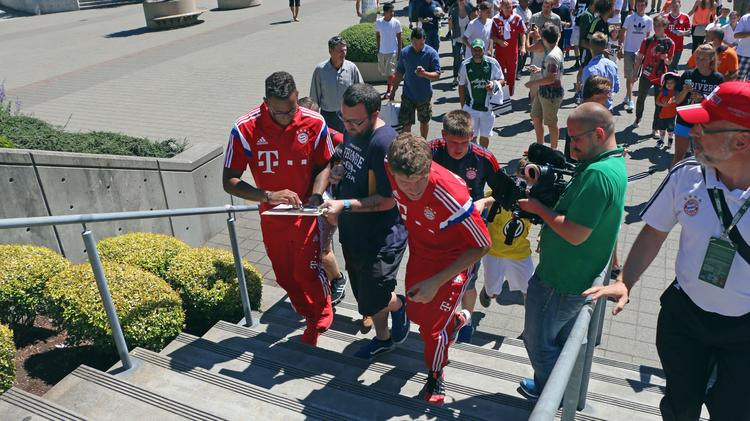 Fans had numerous opportunities to interact with soccer players at All-Star Game festivities, including a brief autograph signing in North Portland by the seven Bayern Munich players who played on the German national team that won the World Cup.