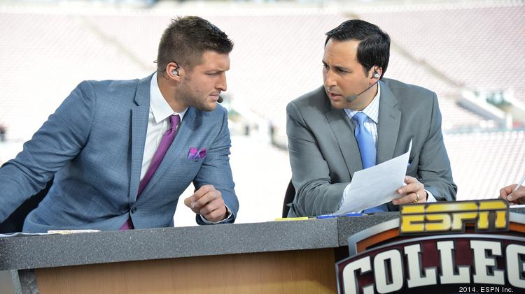 """Tim Tebow and Joe Tessitore on the set of """"College Football Live"""" in January at the Rose Bowl."""