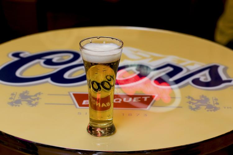 A glass of Coors Banquet beer at the Molson Coors brewery in Golden.