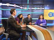 In the SEC Studio (from left): Peter Burns, anchor; Maria Taylor, anchor/reporter; Dari Nowkhah, anchor; and Stephanie Druley, VP college networks production