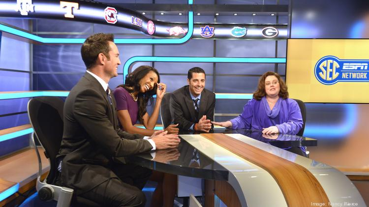 Left to right in the SEC Studio: Peter Burns, anchor; Maria Taylor, anchor/reporter; Dari Nowkhah, anchor. At far right, Stephanie Druley is a vice president for production, college networks