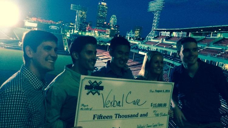 Boston startup Verbal Applications, maker of a patient engagement software called Verbal Care, took home $15,000 in a competition at Fenway Park on Thursday that pitted three Boston startups against three New York City startups.