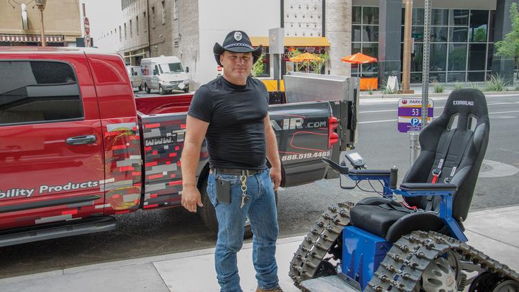 Inventor Brad Soden shows off one of his remote-controlled Tankchairs.