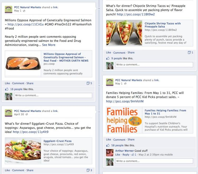 """A glimpse on PCC Natural Markets' main Facebook page, which has almost 19,000 """"likes,"""" shows the company's range of uses for the social media site."""