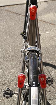 Alan Elser, CFO of GM Nameplate, has three flashing taillights for visibility on his bike.