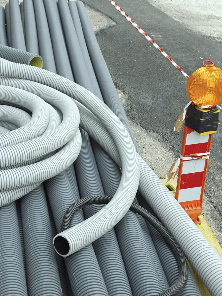 signal light and plastic pipes for laying optical fiber