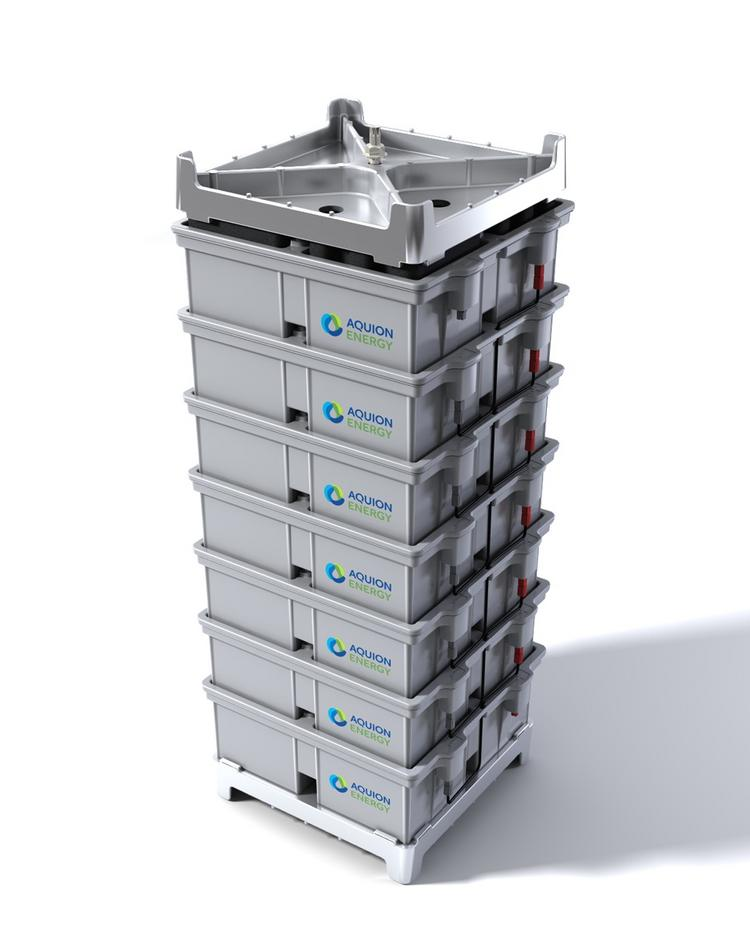 A stack of Aqueous Hybrid Ion batteries made by Aquion Energy.