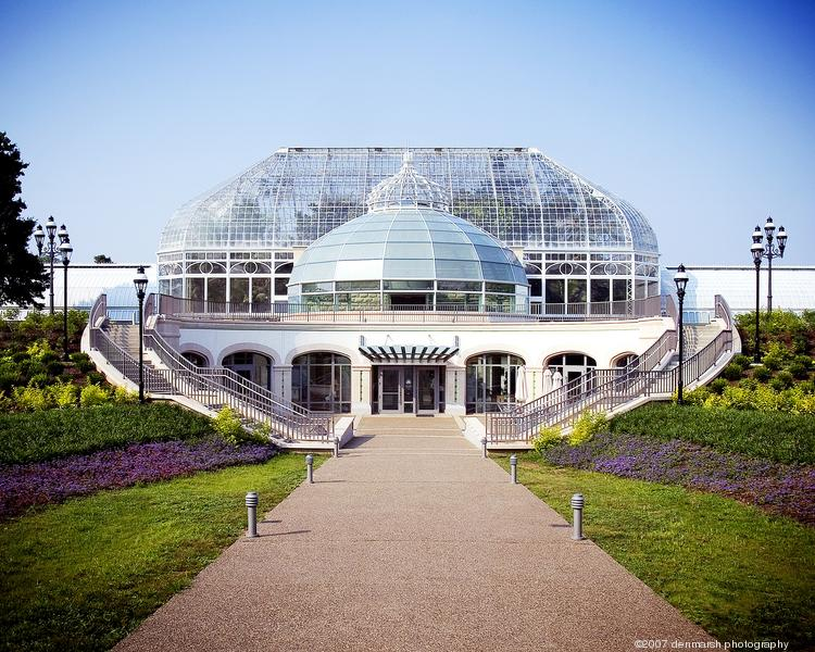 Phipps Conservatory and Botanical Gardens' Welcome Center is the first visitor center to be LEED-certified in a public garden. It is sheltered for heating and cooling efficiency and flanked by sustainable plants.
