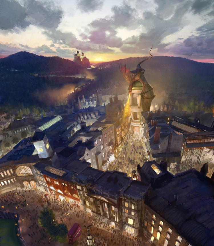 "Universal Orlando Resort's rendering of the upcoming Diagon Alley and ""London"" at Universal Studios, opening in 2014."