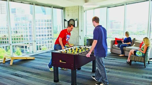 TogGolf's Dallas offices feature a foosball table and other amenities for staff.