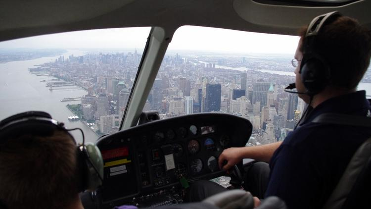 Helicopter tours over the Hudson River, like this one, could be reduced if a group of New Jersey politicians get their way.