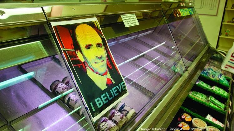 This poster of fired Market Basket CEO Arthur T. Demoulas in the fish case at a Market Basket store in Tewksbury helps explain why only a few jars of pickled herring are what's available on these shelves as protesting employees continue their effort to bring him back.