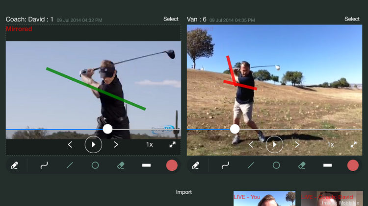 A sreenshot of MobiCoach, a new product from San Jose sports tech startup Mobiplex that facilitates remote coaching sessions for golf and other athletic endeavors through a videoconferencing system.