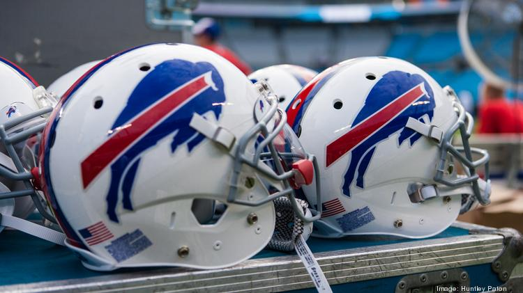 Buffalo Bills helmets sit at the ready before the game. The Buffalo Bills defeated the Carolina Panthers 20-18 in an Aug. 8, 2014 preseason game at Bank of America in Charlotte.