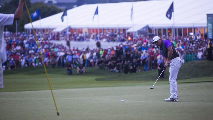 Rory McIlroy putting for birdie on the 18th to win the 2014 PGA Championship. PGA Championship director Brett Sterba said the players appreciated the enthusiastic crowds at Valhalla Golf Club.