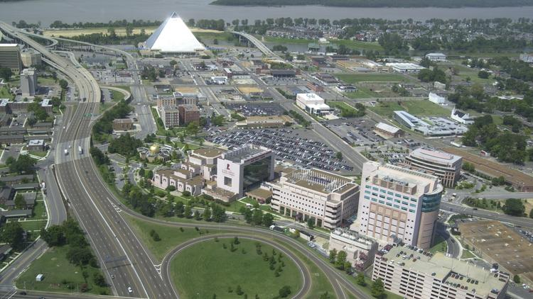 Sandwiched between the Downtown Memphis Pyramid and the St. Jude Children's Research Hospital is the Pinch District.