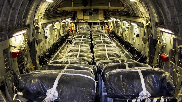 As of Sunday, the U.S. military has conducted four airdrops of food and water for Iraqi citizens from multiple air bases using one Boeing C-17 (pictured here) and two C-130 cargo aircraft from Lockheed Martin Corp.