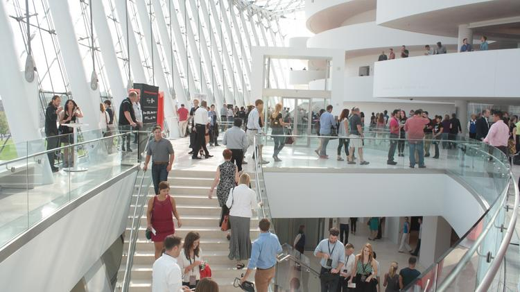 Attendees gather for the Aug. 9 TEDxKC event at the Kauffman Center for the Performing Arts.
