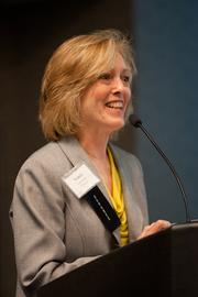 Nancy Garrison, director of human resources for TriHealth, accepts the award in the category of 5,000 or more employees.